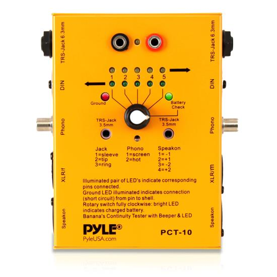 Pyle - PCT10 , Sound and Recording , Audio Processors - Sound Reinforcement , 8 Plug Pro Audio Cable Tester