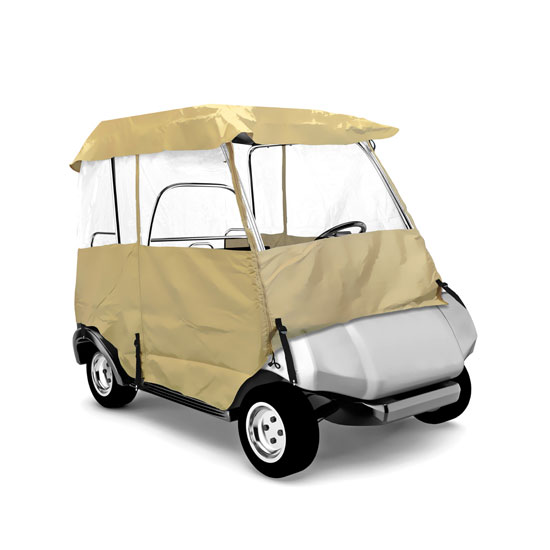 Pyle - PCVGCE30 , Marine and Waterproof , Protective Storage Covers , On the Road , Protective Storage Covers , Armor Shield Deluxe 4 Sided Golf Cart Enclosure 2 Passenger, Fits Carts up to 66'' Length (Tan Color)
