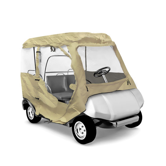 Pyle - PCVGFCP90 , Marine and Waterproof , Protective Storage Covers , On the Road , Protective Storage Covers , Armor Shield Club Car Golf Cart Protective Storage Enclosure Cover, Indoor/Outdoor, Fits Precedent® Golf Cart Models (Tan Color)