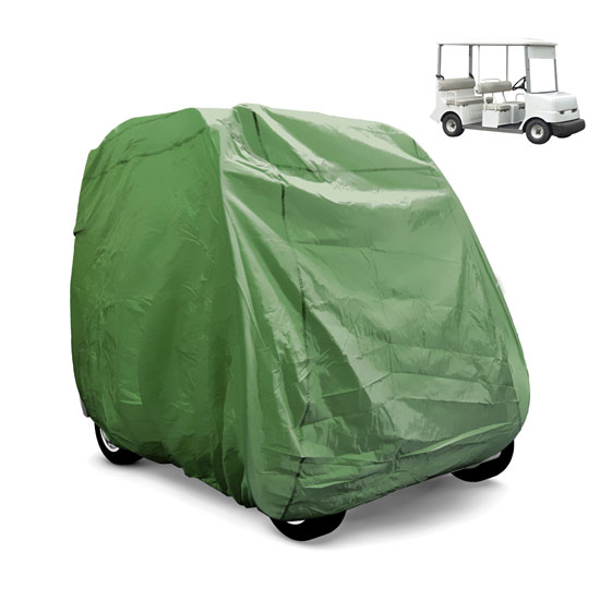 Pyle - PCVGFCSO21 , Marine and Waterproof , Protective Storage Covers , On the Road , Protective Storage Covers , Armor Shield Golf Cart Zipper Protective Storage Cover, Fits 4 Passenger Car, Indoor/Outdoor, (Olive Color)