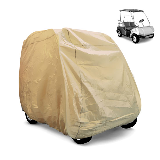 Pyle - PCVGFCT64 , Marine and Waterproof , Protective Storage Covers , On the Road , Protective Storage Covers , Armor Shield Golf Cart Protective Storage Cover, Fits 2 Passenger Car, Indoor/Outdoor, (Tan Color)