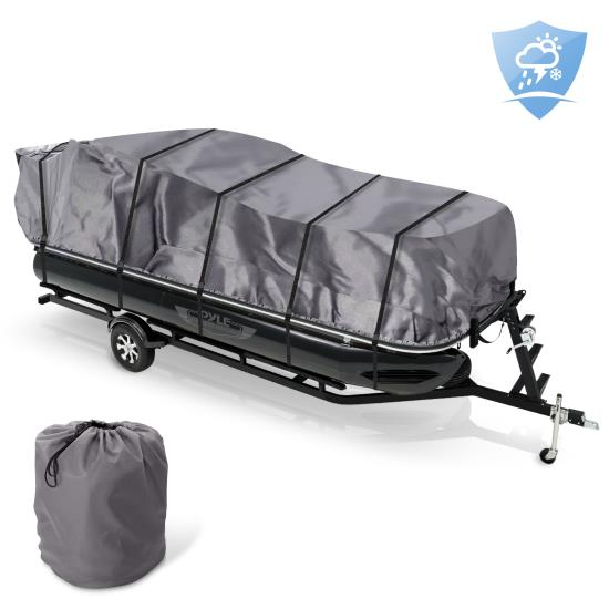Pyle - PCVHP662 , Marine and Waterproof , Protective Storage Covers , On the Road , Protective Storage Covers , Armor Shield Trailer Pontoon Cover - Universal Cover for Pontoon Boats (for Pontoons 25' - 28' ft. Length)