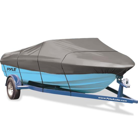 Pyle - PCVSPB333 , Marine and Waterproof , Protective Storage Covers , On the Road , Protective Storage Covers , Armor Shield Trailer Master Boat Cover 17'-19'L Beam Width to 102'' V-Hull Runabouts Outboards & I/O