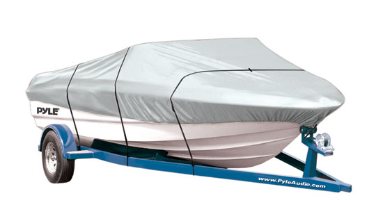 Pyle - PCVTB110 , Marine and Waterproof , Protective Storage Covers , On the Road , Protective Storage Covers , Armor Shield Boat Cover 12'-14'L Beam Width to 68'' V-Hull Fishing Boats