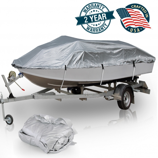 Pyle - PCVTB111 , Marine and Waterproof , Protective Storage Covers , On the Road , Protective Storage Covers , Armor Shield Boat Cover 14'-16'L Beam Width to 75'' V-Hull Fishing Boats