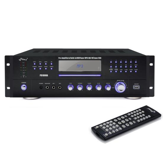 Pyle - PD1000A , Home and Office , Personal Radios, Alarm Clocks , 1000 Watt AM-FM Receiver w/ Built-in Multimedia Disc/MP3/USB
