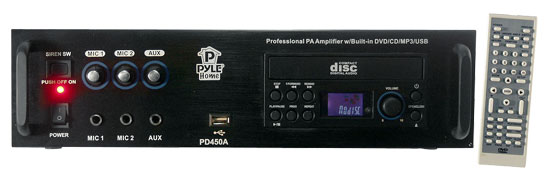 Pyle - PD450A , Sound and Recording , Amplifiers - Receivers , Professional PA Amplifier w/Bulit In Multimedia Disc/MP3/USB/70v Output
