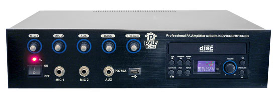 Pyle - PD750A , Sound and Recording , Amplifiers - Receivers , Professional PA Amplifier w/Bulit In Multimedia Disc/MP3/USB/70v output