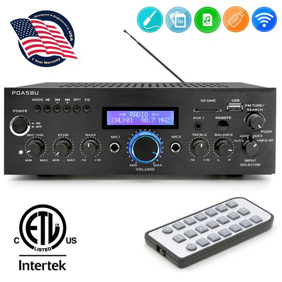 Pyle - PDA5BU , DJ Equipment , Power Amplifiers , 200 Watts Bluetooth Stereo Amplifier w/ AM/FM, USB/SD Flash Drive, Remote and Blue LCD Screen
