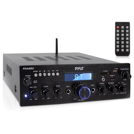 Pyle - PDA6BU , Sound and Recording , Amplifiers - Receivers , Compact Bluetooth Stereo Amplifier - Desktop Audio Power Amp Receiver with FM Radio, MP3/USB/SD Readers, Digital LCD Display, Microphone Input (200 Watt)