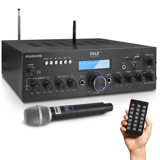 Pyle - pda8buwm , Sound and Recording , Amplifiers - Receivers , Compact Home Theater Amplifier Stereo Receiver with Bluetooth Wireless Streaming, UHF Wireless Microphone, Mic ECHO, and Volume Control, MP3/USB/SD/AUX/FM Radio, AV Inputs (200 Watt)