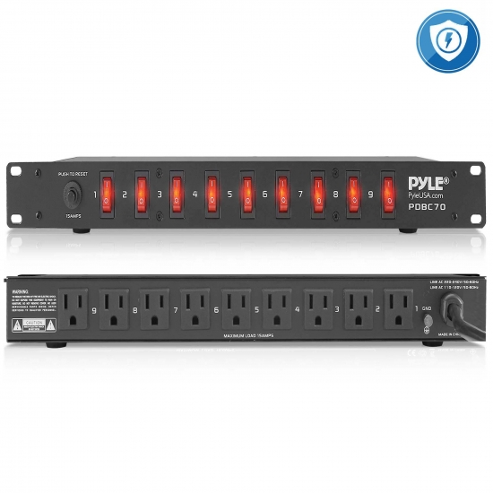 Pyle - PDBC70 , Home and Office , Power Supply - Converters , 15 Amp Power Supply Power Strip with 1800VA Rack Mountable 9 Outlets