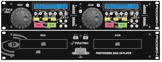 Pyle - PDCD204 , DJ Equipment , Professional CD / SD MP3 Players , 19'' Rack Mount Professional Dual CD Player With Jog Dial