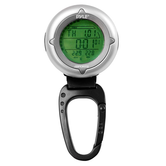 Pyle - PDCT3 , Gadgets and Handheld , Multi-Function Handheld Devices , Handheld Carabiner Compass With Backlight, Stop Watch, And Clock