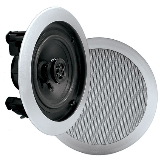 Pyle - PDIC51RDSL , Home and Office , Speakers , In-Wall / In-Ceiling Dual 5.25-inch Speaker System, 2-Way, Flush Mount, Silver