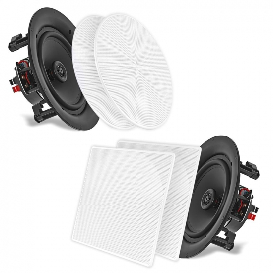 "Pyle - UPDIC56 , Sound and Recording , Speakers , 5.25"" In-Wall / In-Ceiling Dual Stereo Speakers, 150 Watt, 2-Way, Flush Mount, White"