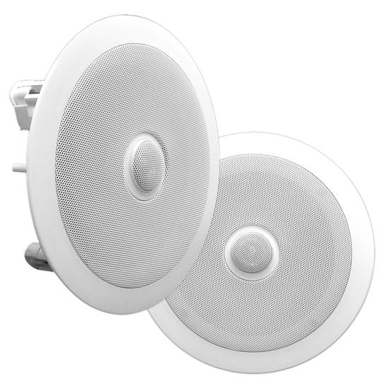 Pyle - PDIC60 , Home and Office , In-Wall/Ceiling Speakers , In-Wall / In-Ceiling Dual 6.5-inch Speaker System, Directable Tweeter, 2-Way, Flush Mount, White