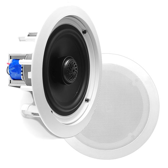 Pyle - PDIC60T , Sound and Recording , Speakers , In-Wall / In-Ceiling Dual 6.5-inch Speaker System, 70V Transformer, 2-Way, Flush Mount, White
