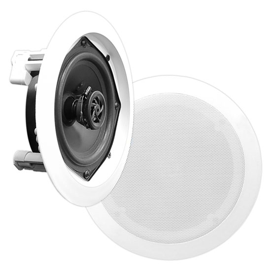 Pyle - PDIC61RD , Home and Office , Speakers , In-Wall / In-Ceiling Dual 6.5-inch Speaker System, 2-Way, Flush Mount, White