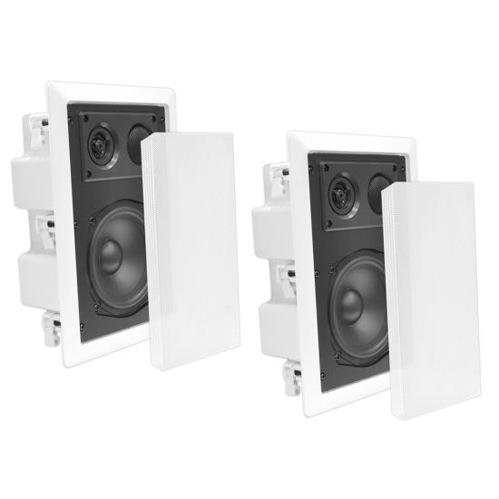 Pyle - PDIW57 , Sound and Recording , Home Speakers , In-Wall / In-Ceiling Dual 5.25'' Enclosed Speaker System, 2-Way, Flush Mount, White