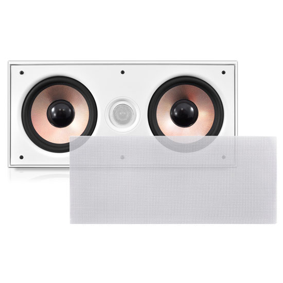Pyle - PDIWCS62 , Sound and Recording , Home Speakers , In-Wall / In-Ceiling Dual 6.5'' Center Channel Stereo Sound Speaker System, 2-Way, Flush Mount, White, Single Speaker