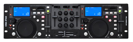 Pyle - PDJ480UM , DJ Equipment , Professional CD / SD MP3 Players , Rack Mount Professional Dual DJ Controller with Scratch, Loop, Mixer, USB, and SD Card Player