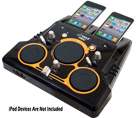 Pyle - PDJSIU200 , Sound and Recording , Mixers - DJ Controllers , I Mixer Dual Ipod DJ Player with DJ Scratch And Sound Effects