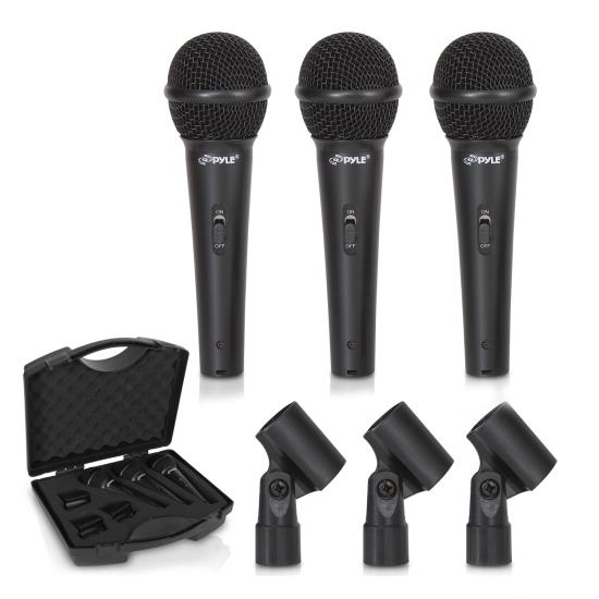 Pyle - PDMICKT80 , Musical Instruments , Microphones - Headsets , Sound and Recording , Microphones - Headsets , (3) Professional Dynamic Handheld Microphones, Cardioid Moving Coil Vocal Mics with Clip Adapters (3-Pack)