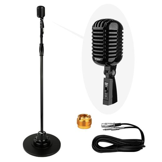 Pyle - PDMICR70BK , Musical Instruments , Microphones - Headsets , Sound and Recording , Microphones - Headsets , Classic Retro Vintage Style Microphone & Swing Stand, Black