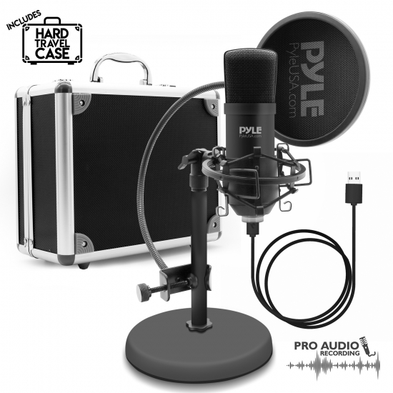 Pyle - PDMIKT100 , Musical Instruments , Microphones - Headsets , Sound and Recording , Microphones - Headsets , Computer Desktop Microphone - Streaming & Pro Audio Recording Mic Kit with Shock Mount Stand, Easy USB Plug-and-Play (for Podcast Recording, Streaming, Gaming)