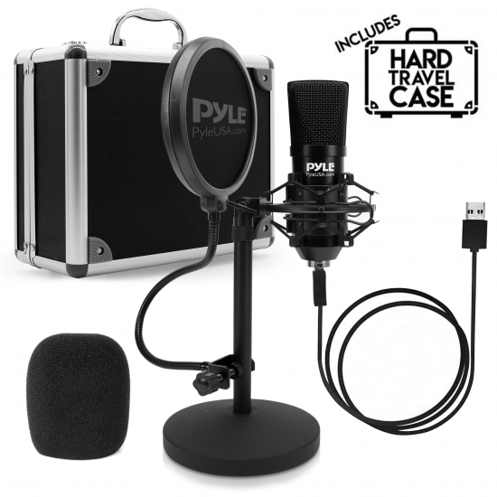 Pyle - PDMIKT120 , Musical Instruments , Microphones - Headsets , Sound and Recording , Microphones - Headsets , Professional USB Podcast Microphone Kit - High-Res. Mic with USB Cable, Pop Filter, Mic Stand, Shock Mount, White Aluminum Case Box