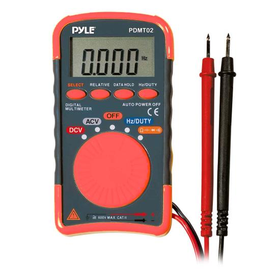 Pyle - PDMT02 , On the Road , Power Inverter , 8 Function Digital Multimeter With DCV, ACV, Resitance, Capacitance, Frequency, Duty Cycle, Continuity