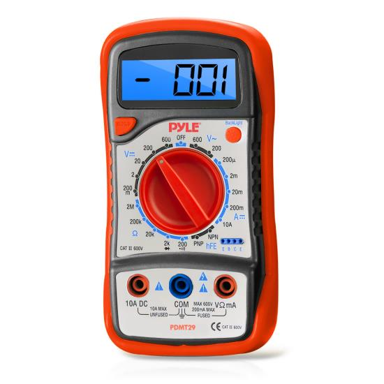 Pyle - PDMT29 , Personal Electronics , Meters & Testers , Digital LCD Multimeter, AC, DC, Volt, Current, Resistance, And Range W/ Rubber Case And Stand