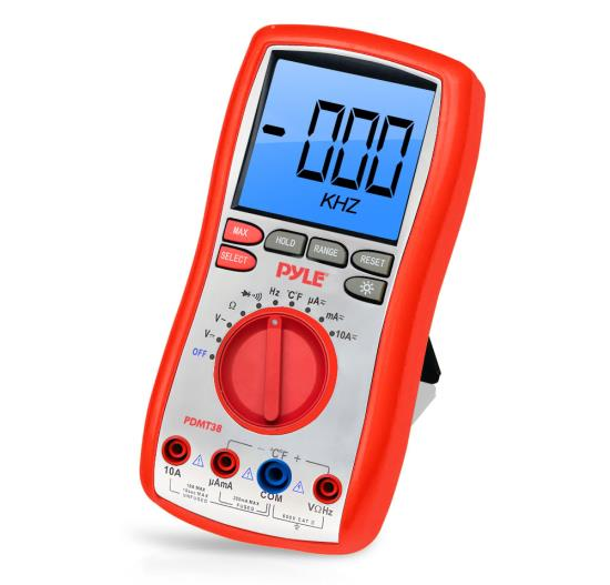 Pyle - PDMT38 , Personal Electronics , Meters & Testers , Digital LCD AC, DC, Volt, Current, Resistance, and Range Multimeter W/ Rubber Case, Test Leads And Stand