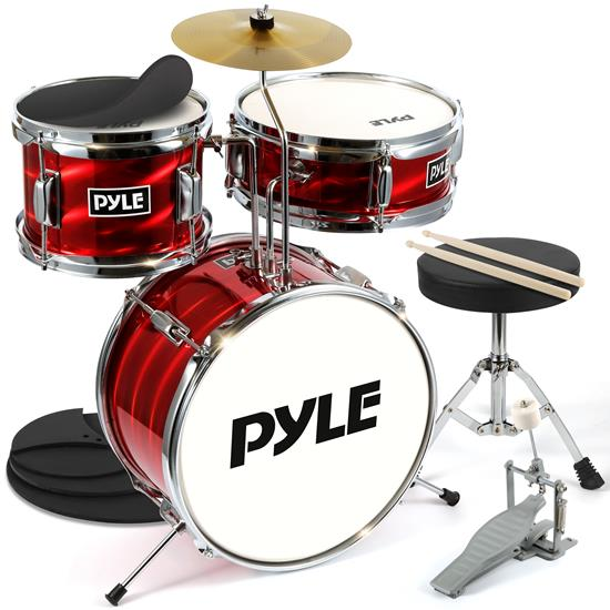 Pyle - PDRMKIT72RD , Musical Instruments , 13'' 3-Piece Kids/Junior Drum Set - Metallic Shiny Red Drum Set with Throne, Cymbal, Pedal, Bass Drum, Tom and Drumsticks