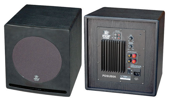 Pyle - PDSUB8A , Home Audio / Video , Home Theater Systems , 8'' 300 Watt Front-Firing Book Shelf Powered Subwoofer Speaker