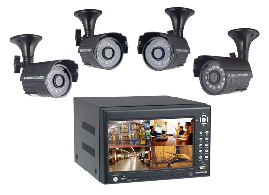 Pyle - PDVRJ2 , Home Audio / Video , Security & Surveilance Monitors , 4 Channel DVR Color Camera Surveilance Kit w/ Built-in Monitor & 4 Cameras