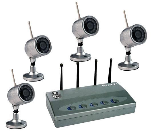 Pyle - PDVRJ4 , Home Audio / Video , Security & Surveilance Monitors , Wireless 4 Color Camera Surveillance Kit