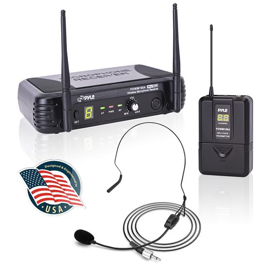 Pyle - PDWM1904 , Musical Instruments , Microphone Systems , Sound and Recording , Microphone Systems , Premier Series Professional UHF Wireless Microphone System, Includes Body-Pack Transmitter, Headset Mic & Lavalier Mic