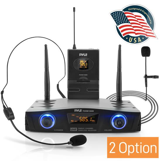 Pyle - PDWM1988B , Musical Instruments , Microphone Systems , Sound and Recording , Microphone Systems , Compact UHF Pro Wireless Microphone System - USB Powered Desktop Mic Receiver System with Adjustable Volume Control, Includes Belt-Pack Transmitter, Headset Mic & Lavalier Mic (Single Channel)