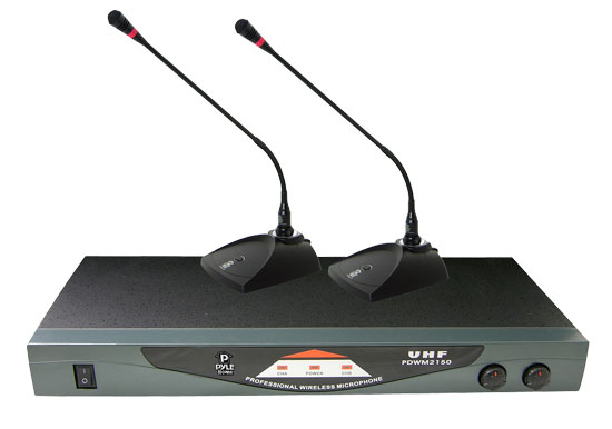 Pyle - PDWM2150 , DJ Equipment , Wireless Microphones , Professional Dual Table Top VHF Wireless Microphone System
