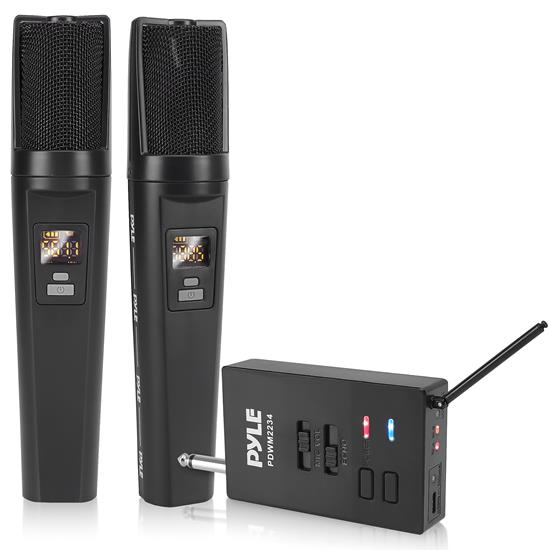 Pyle - PDWM2234 , Musical Instruments , Microphone Systems , Sound and Recording , Microphone Systems , Bluetooth UHF Wireless Microphone & Receiver System with Universal Audio Receiver, (2) USB Rechargeable Battery Mics, Selectable Frequency