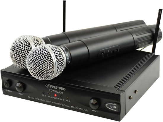 Pyle - PDWM2400 , DJ Equipment , Wireless Microphones , Wireless Dual Channel UHF Microphone System With 2 Microphones