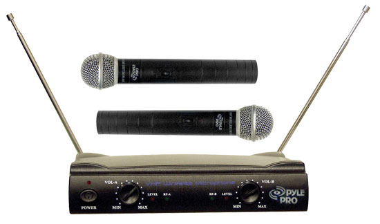 Pyle - PDWM2500 , DJ Equipment , Wireless Microphones , Dual VHF Wireless Microphone System