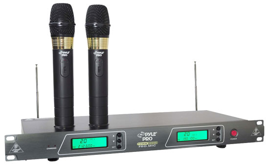 Pyle - PDWM2550 , DJ Equipment , Wireless Microphones , 19'' Rack Mount Dual VHF Wireless Rechargeable Handheld Microphone System