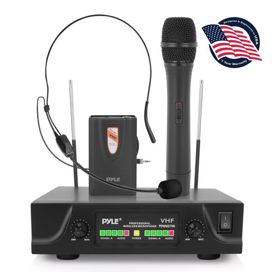 Pyle - PDWM2700 , Musical Instruments , Microphone Systems , Sound and Recording , Microphone Systems , Two Channel VHF Wireless Microphone System, Handheld Microphone, Headset Microphone and Belt Pack Transmitter