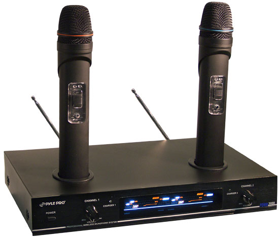 Pyle - PDWM3000 , DJ Equipment , Wireless Microphones , Dual VHF Rechargeable Wireless Microphone System