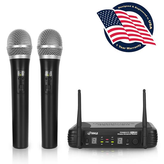 Pyle - PDWM3375 , Musical Instruments , Microphone Systems , Sound and Recording , Microphone Systems , Premier Series Professional 2-Channel UHF Wireless Handheld Microphone System with Selectable Frequencies