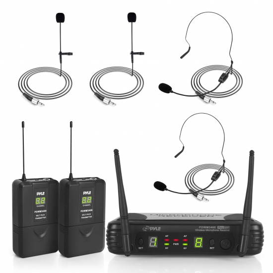 Pyle - PDWM3400 , DJ Equipment , Wireless Microphones , Premier Series Professional UHF Microphone System with (2) Body-Pack Transmitters, (2) Headset & (2) Lavalier Microphones with Selectable Frequencies