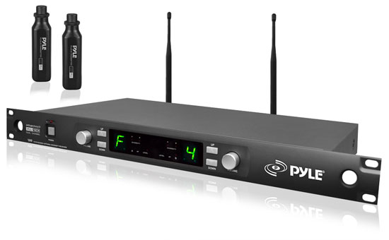 Pyle - PDWM3450 , DJ Equipment , Wireless Microphones , Premier Series Professional UHF Microphone Rack Mountable System with (2) Plug-in XLR Wireless Transmitters and Selectable Frequencies